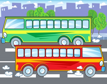 The illustration shows two buses that travel by urban road  Illustration done in cartoon style  Vector