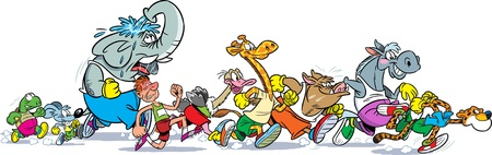 The illustration shows some species of animals and man who compete, who faster runs  Illustration done in cartoon style, on separate layers, the horizontal