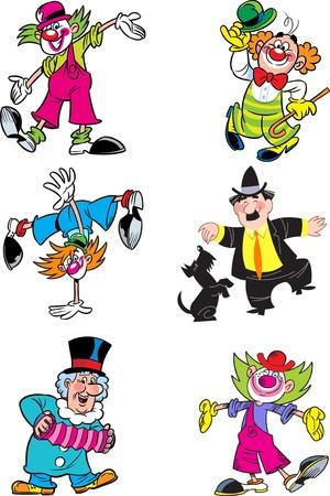 clown cirque: L'illustration montre quelques clowns diff�rents. Illustration faite dans le style bande dessin�e sur des calques s�par�s. Illustration