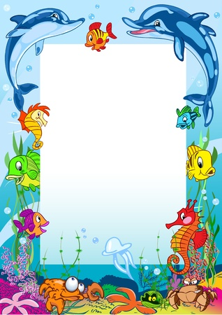The illustration shows the frame against the background of various sea creatures. Illustration made on separate layers in a cartoon style. Vector