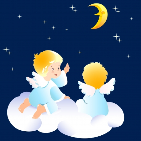 moon angels:  Cute little angels sitting on clouds. They look at the night sky and indicate to the moon. Illustration done on separate layers. Illustration