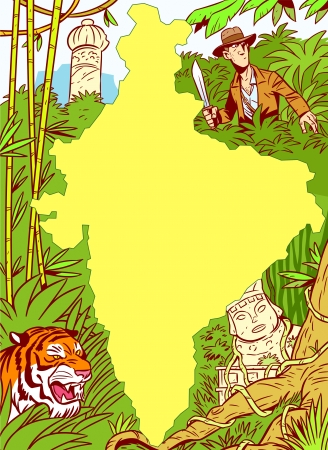 clipping mask: The illustration shows the African continent amid the jungle, ancient ruins, predatory animals and a white man with a machete  Illustration done  with the use of clipping mask  Illustration