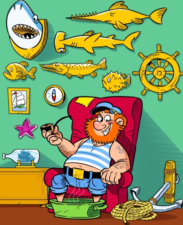 stuffed animals:  The illustration shows funny sea captain resting in his room, where the walls are covered with trophies