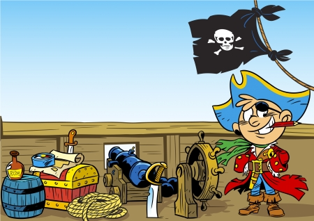 buccaneer: The illustration shows a young boy who plays the pirate  Illustration done in cartoon style  Illustration