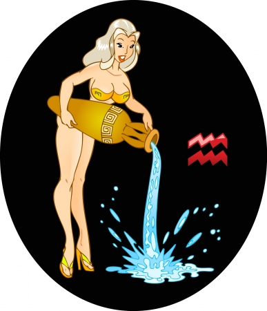The illustration shows the horoscope sign Aquarius  This is sexual young Girl, which pours water from an amphora  Erotic illustration on a black background on separate layers  Vector