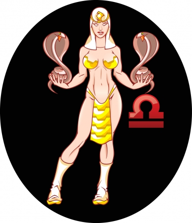 The illustration shows the horoscope sign Libra  This is an image of sexual young girl in clothes Egyptian priestess, which holds two snakes  Erotic illustration on a black background on separate layers Stock Vector - 18970007