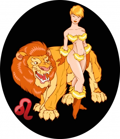 erotic fantasy:  The illustration shows the horoscope sign Lion  This is an image of sexual young girl beside a big lion  Erotic illustration on a black background on separate layers