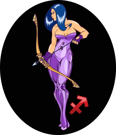 The illustration shows the horoscope sign Sagittarius  This is  sexual young girl an image archer  Erotic illustration on a black background on separate layers Vector