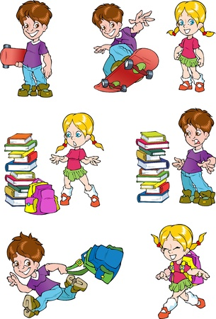 schoolchild: The illustration shows the characters of schoolchild, it s a boy and a girl  The boy board for skateboard and school bag  Girl with a briefcase near a pile of books  Illustration done in cartoon style, on separate layers