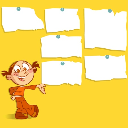 leaflets: The illustration shows a cartoon girl  She smiles and points to the wall with ads  Illustration done on separate layers