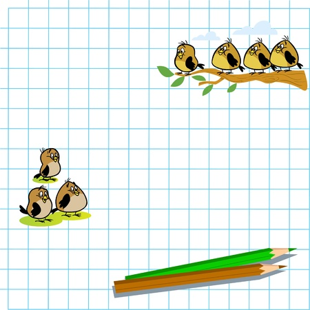 few: At illustration drawed in the exercise book a few birds and two pencil. Illustration done in cartoon style on separate layers, there is space for text