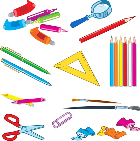 The illustration shows a several species stationery items. Objects isolated on white background on separate layers. Vector