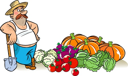 landlord: The illustration shows a man in a hat with spade. He stands near a pile of vegetables harvested from the garden. Illustration shows collecting harvest, done in a cartoon style, on separate layers. Illustration