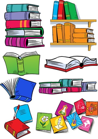 novels: On vector illustration shows some types of books  Objects isolated on a white background, on separate layers, in a cartoon style