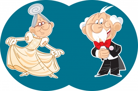 On the illustration, couple, elderly man and woman dance a waltz  Vector illustration done in cartoon style on separate layers