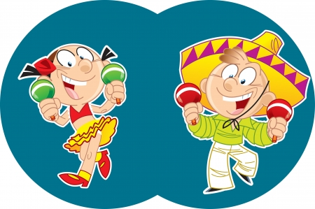mexican boy: In the illustration, a boy in a sombrero and girl performs a Mexican dancing with maracas  Vector illustration in cartoon style on separate layers