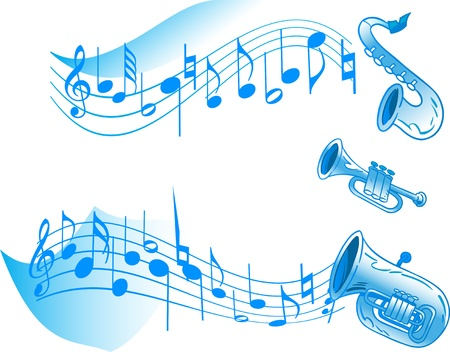 The illustration shows a number of wind instruments on a white background and abstract musical notes  There is a place for the text  Illustration done on separate layers  Vector