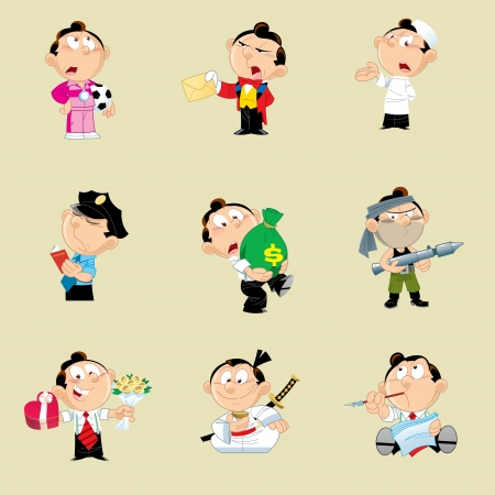 The illustration shows the character of a man, representing several types of professional activity. Illustration done in cartoon style, on separate layers.