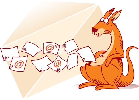 The illustration shows a kangaroo that collects e-mails in a bag  In the background shows a paper envelope  Illustration done in cartoon style, on separate layers  Stock Vector - 20237613