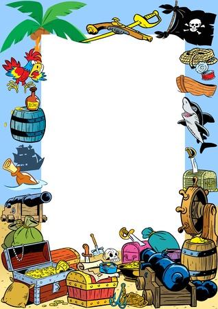 mapa del tesoro: El presentado ilustraci�n marco para el texto en el contexto de una variedad pirata atributos Ilustraci�n realizada en estilo de dibujos animados en capas separadas