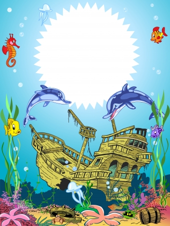 The illustration shows the skeleton of a sunken ancient ship  Ship lies on the ocean floor, around floating fish  and seaweed  There is a place for the text block   Illustration done in cartoon style on separate layers   Vector