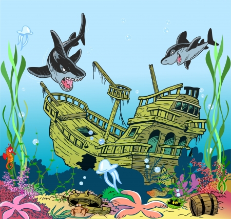 wreck:  The illustration shows the skeleton of a sunken ancient ship  Ship lies on the ocean floor, around floating sharks and seaweed  Illustration done in cartoon style  Illustration