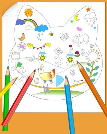 niños escribiendo: La ilustración muestra una hoja de papel con la imagen del niño s, y unos lápices de colores