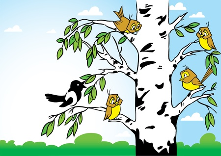 birch bark: In the illustration birch on the background  forest and blue sky  Birds sitting on a tree, it s sparrows and magpies  Illustration done in cartoon style, on separate layers
