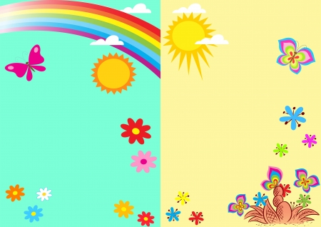 sun flowers: The illustration shows the template for congratulations on the summer theme  Against the background of abstract butterflies, the sun, rainbows and flowers  Frames are made in two versions, in cartoon style, on separate layers