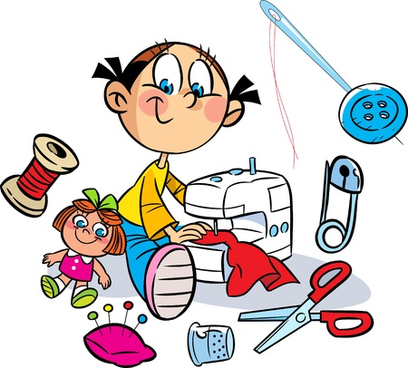 The illustration shows a little girl who sews on the sewing machine dress for the doll  Near it shows the various items for sewing  Illustration done in cartoon style, on separate layers  Illustration