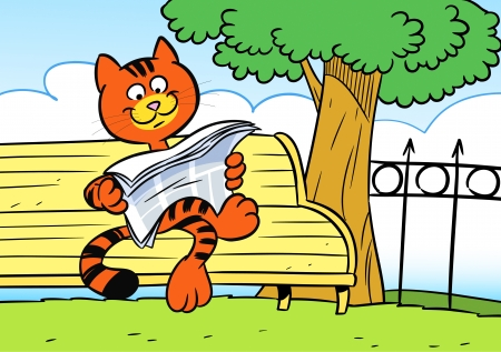 newspaper cartoons: The illustration shows a funny red cat  He is sitting on a park bench and reading a newspaper  Illustration done in cartoon style  Illustration