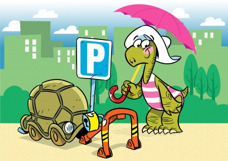 The illustration shows a funny cartoon tortoise  She parked in the parking lot its shell as a means of transportation  Parking is shown in the background of the city Vector