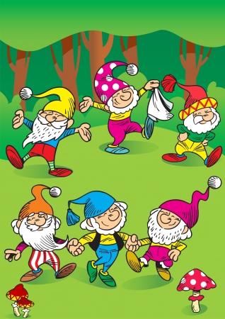 gnomos: La ilustración muestra algunos divertidos gnomos de los bosques juegan y bailan en un círculo Ilustración hecha en estilo de dibujos animados, en capas separadas