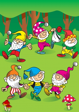 The illustration shows a few funny gnomes in the woods  They play and dance in a circle  Illustration done in cartoon style, on separate layers  Vector