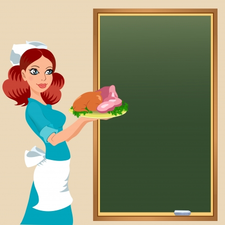 caterer: The illustration shows a beautiful waitress in uniform on the background of the board with the menu  She is holding a tray of food  Illustration done in the style of comics