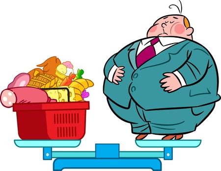 The illustration shows the scales  On they fat man and food basket with food  Illustration done on separate layers, in a cartoon style  Vector
