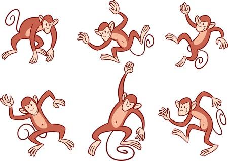mono caricatura: La ilustración muestra varios monos con en diferentes poses Ilustración realizada en el estilo de dibujos animados, en capas separadas Vectores