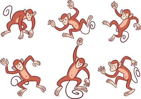 monkey cartoon: The illustration shows several monkeys with in different poses  Illustration done in cartoon style, on separate layers