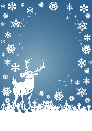 On a Christmas card shows a funny cartoon deer on a background of white snowflakes  Illustration done on separate layers Vector