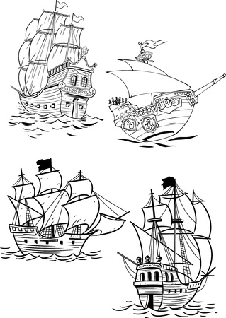 caravelle: L'illustration montre plusieurs types de navires à voile antique Illustration faite sur des calques séparés Illustration