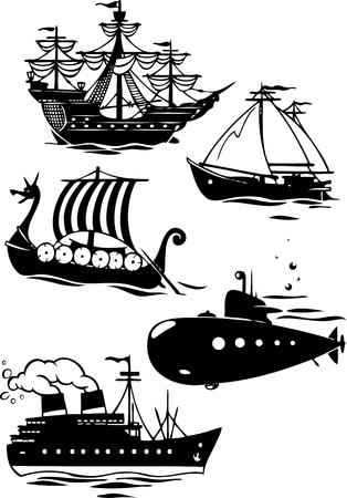 caravelle: L'illustration montre certaines espèces de transport maritime Elle contours des différents navires dans le style bande dessinée Illustration faite sur des calques séparés Illustration