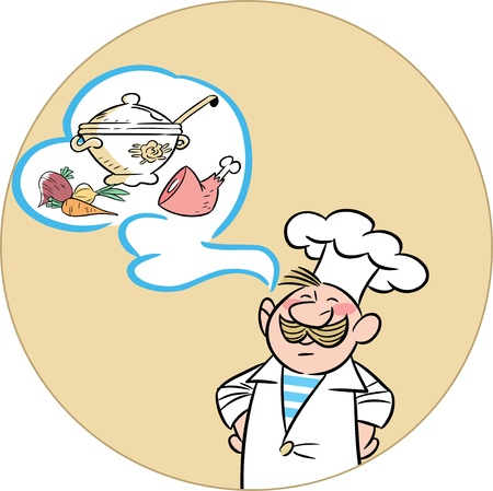 The illustration shows a man in a cook hat and apron  And tureen and ingredients for cooking  Illustration done in cartoon style, on separate layers  Vector