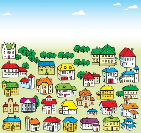 L'illustration montre beaucoup une variété de maison Illustration de dessin animé fait sur des calques séparés, dans un style de bande dessinée