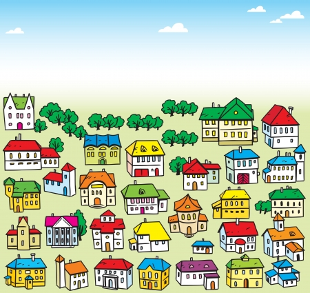 small town life: The illustration shows many a variety of cartoon house  Illustration done on separate layers, in a cartoon style