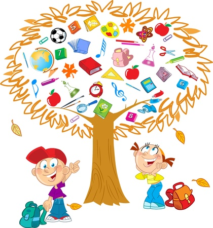 cartoon school girl: The illustration shows the tree  Instead of leaves shows the attributes and items for school   Under the tree, funny boy and girl, they indicate on the tree  Illustration done in cartoon style, on separate layers  Illustration
