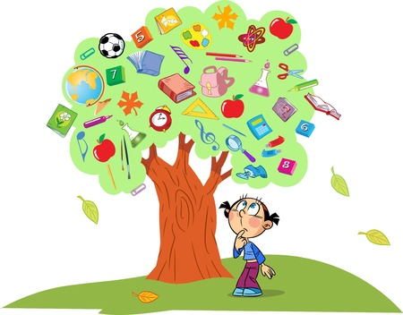 knowledge tree:  The illustration shows the tree  Instead of leaves shows the attributes and items for school  Under the tree is a child lost in thought  Illustration done in cartoon style, on separate layers