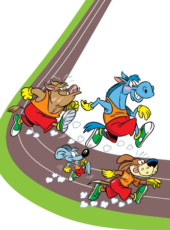 The illustration shows some species of animals who compete, who faster runs  Illustration done in cartoon style, on separate layers Vector