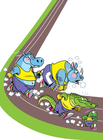 faster: The illustration shows some species of animals who compete, who faster runs  Illustration done in cartoon style, on separate layers Illustration