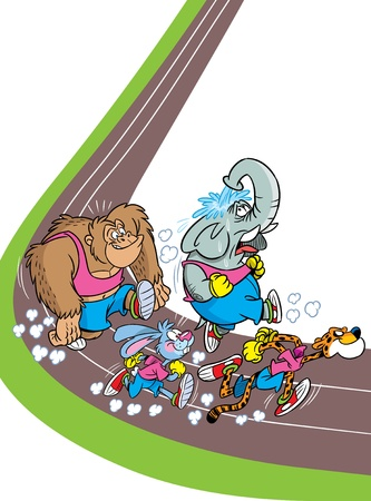 The illustration shows some species of animals who compete, who faster runs  Illustration done in cartoon style, on separate layers Illustration