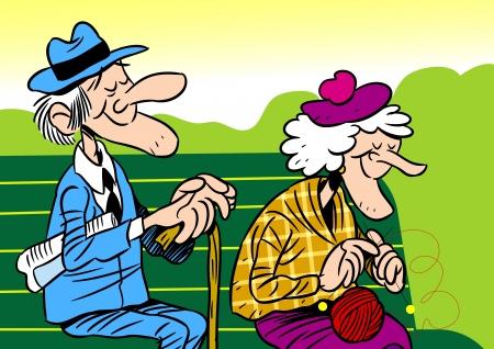 abuelo: La ilustración muestra a una pareja de ancianos Es un anciano y una mujer, que se sientan en el banquillo Ilustración hecha en estilo de dibujos animados, en capas separadas